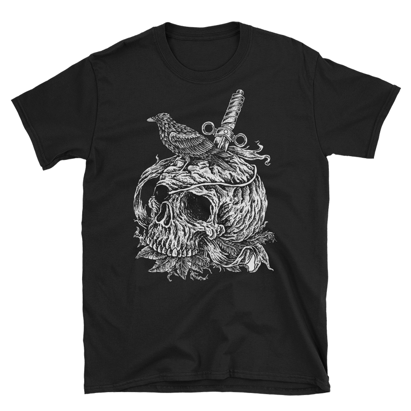 Men's T Shirt,Grey / 3XL,Crow on a Skull Men T Shirt | Bikerisma ™