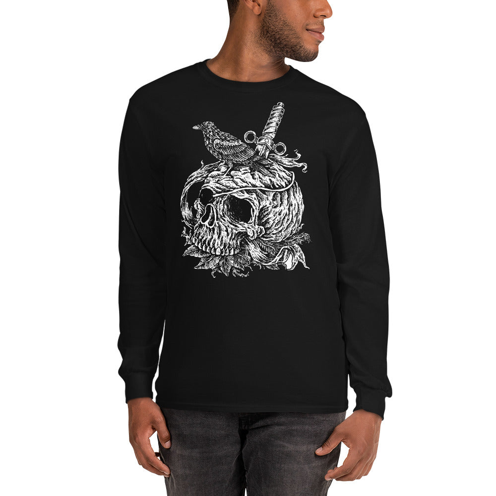 Men's Long Sleeve Shirt,,Crow on a Skull Long Sleeve Shirt | thebikerstshirt