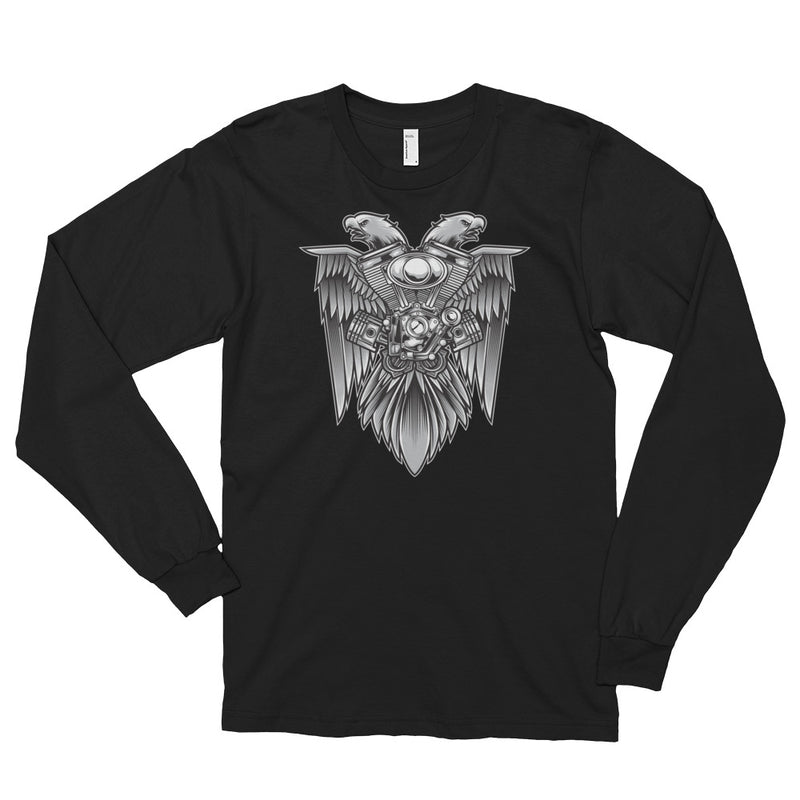 Men's Long Sleeve Shirt,Asphalt / 2XL,Eagle & Motorsport Long Sleeve Shirt | thebikerstshirt