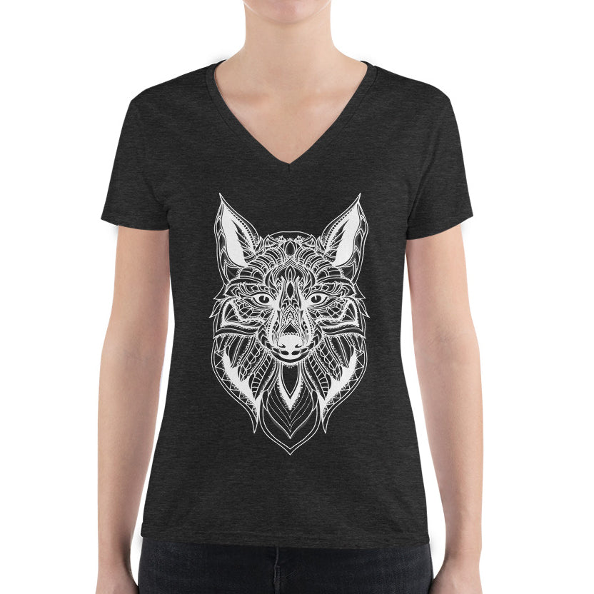 Women's V-Neck T-Shirt,,Fox Hand Drawn Women's V-Neck T-Shirt | Bikerisma ™