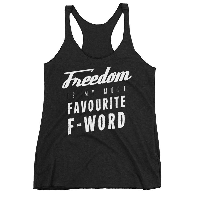 Women's Racerback Tank,White / XL,Freedom Is My Favourite F Word Biker Women's Racerback Tank | thebikerstshirt