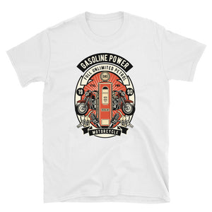 Men's T Shirt,White / 3XL,Gasoline Power Vintage T-Shirt | thebikerstshirt