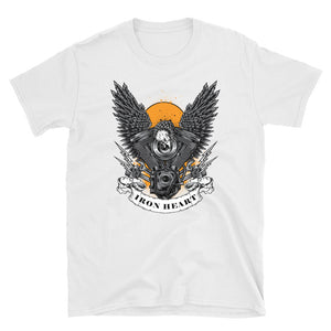 Men's T Shirt,White / 3XL,Iron Heart T-Shirt | thebikerstshirt