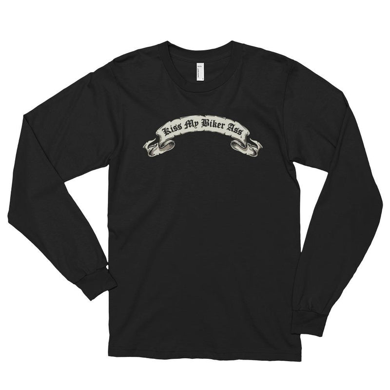 Men's Long Sleeve Shirt,Black / 2XL,Kiss My Biker Ass Long Sleeve Shirt | thebikerstshirt