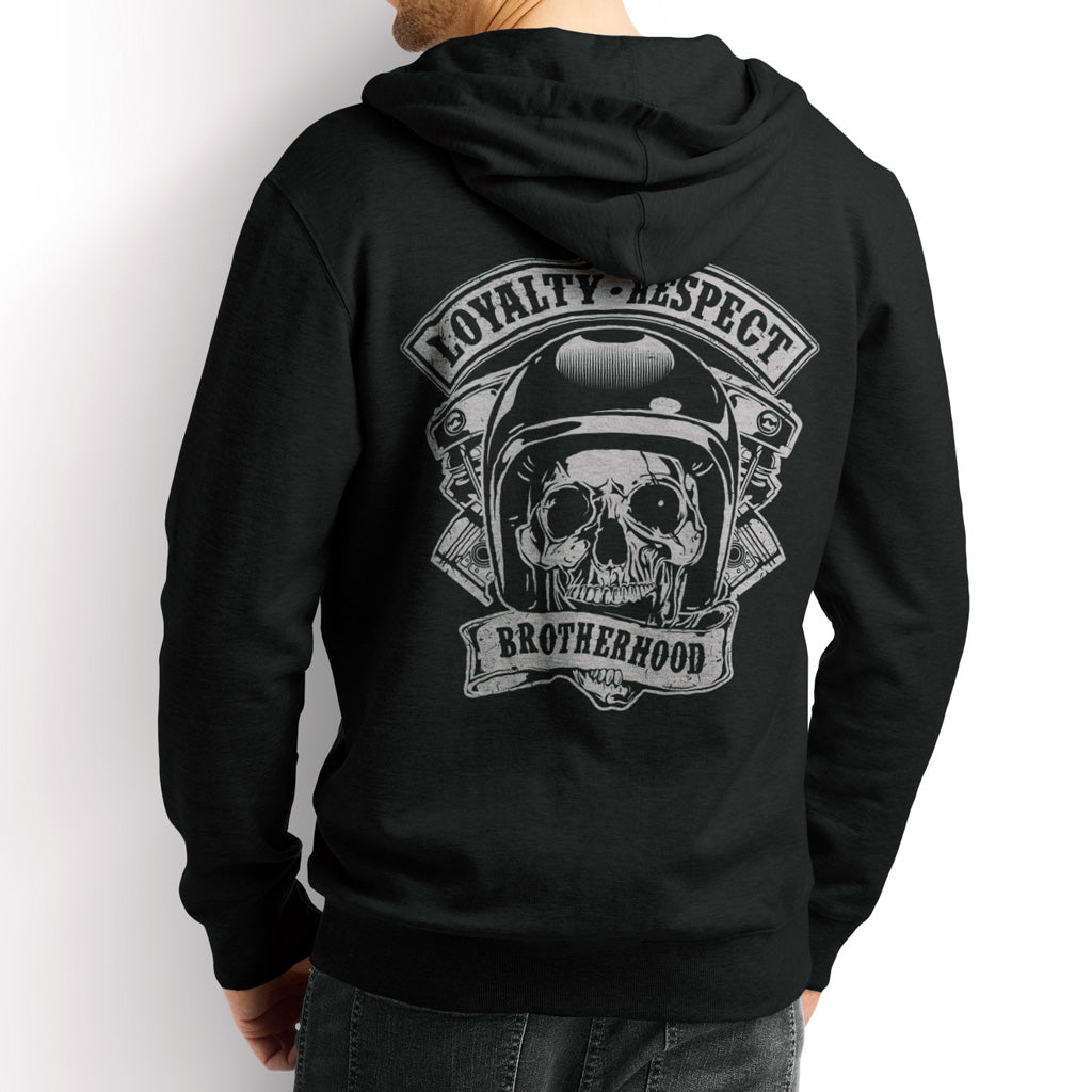 Men's Hoodie,,Loyalty Respect Brotherhood Zip Biker Hoodie | Bikerisma ™
