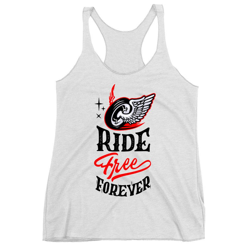 Women's Racerback Tank,White / 2XL,Ride Free Forever Women's Racerback Tank | The Biker's T-Shirt