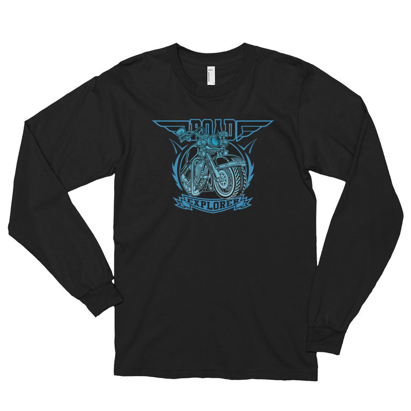 Men's Long Sleeve Shirt,Black / 2XL,Road Explorer Long Sleeve Shirt | thebikerstshirt