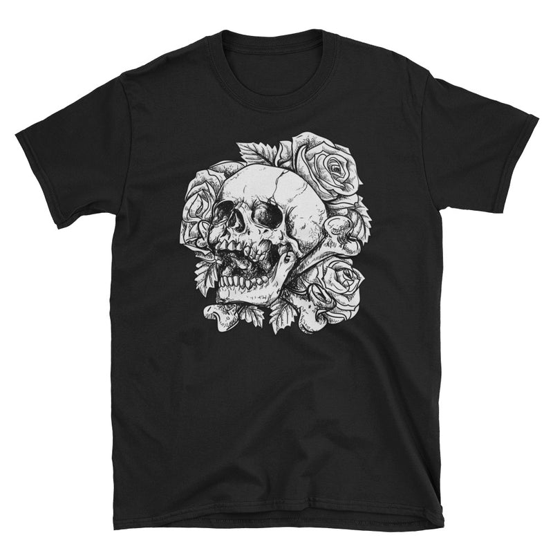 Men's T Shirt,Grey / 3XL,Skull & Roses T-Shirt | thebikerstshirt
