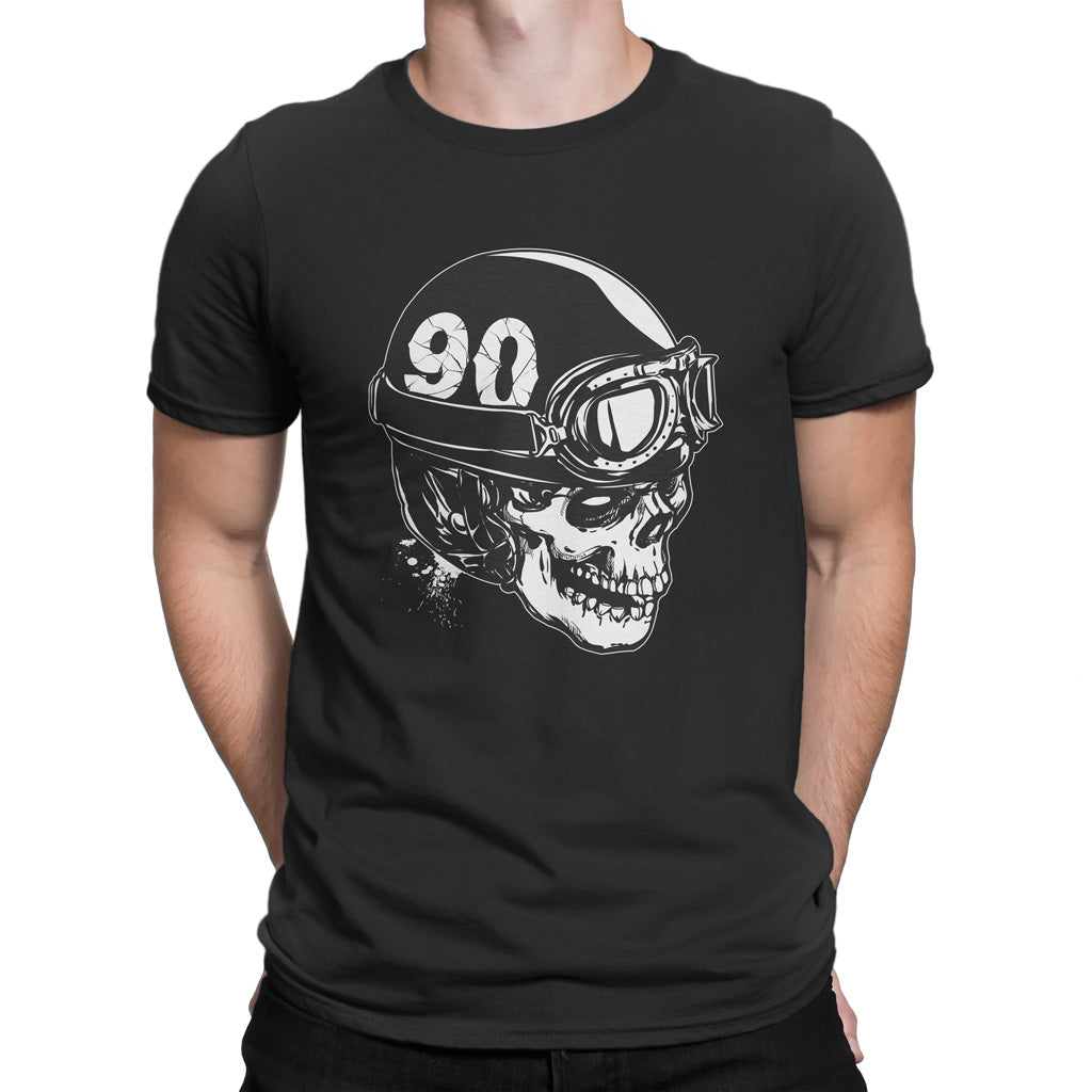 Skull With A Vintage Motorcycle Helmet T-Shirt