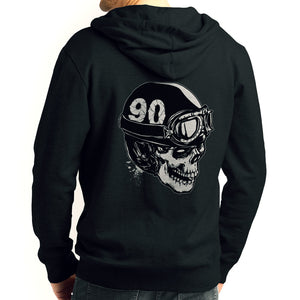 Skull With A Vintage Motorcycle Helmet Zip Hoodie