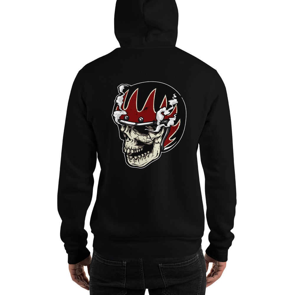 Skull With Helmet & Smoke Zip Black Hoodie
