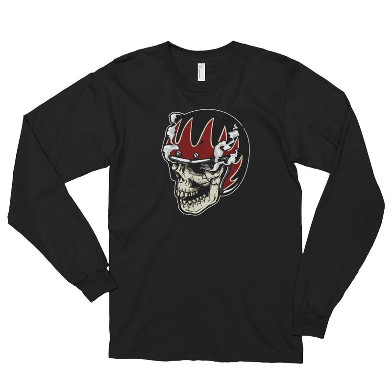 Men's Long Sleeve Shirt,Black / 2XL,Skull With Helmet & Smoke Long Sleeve Shirt | thebikerstshirt