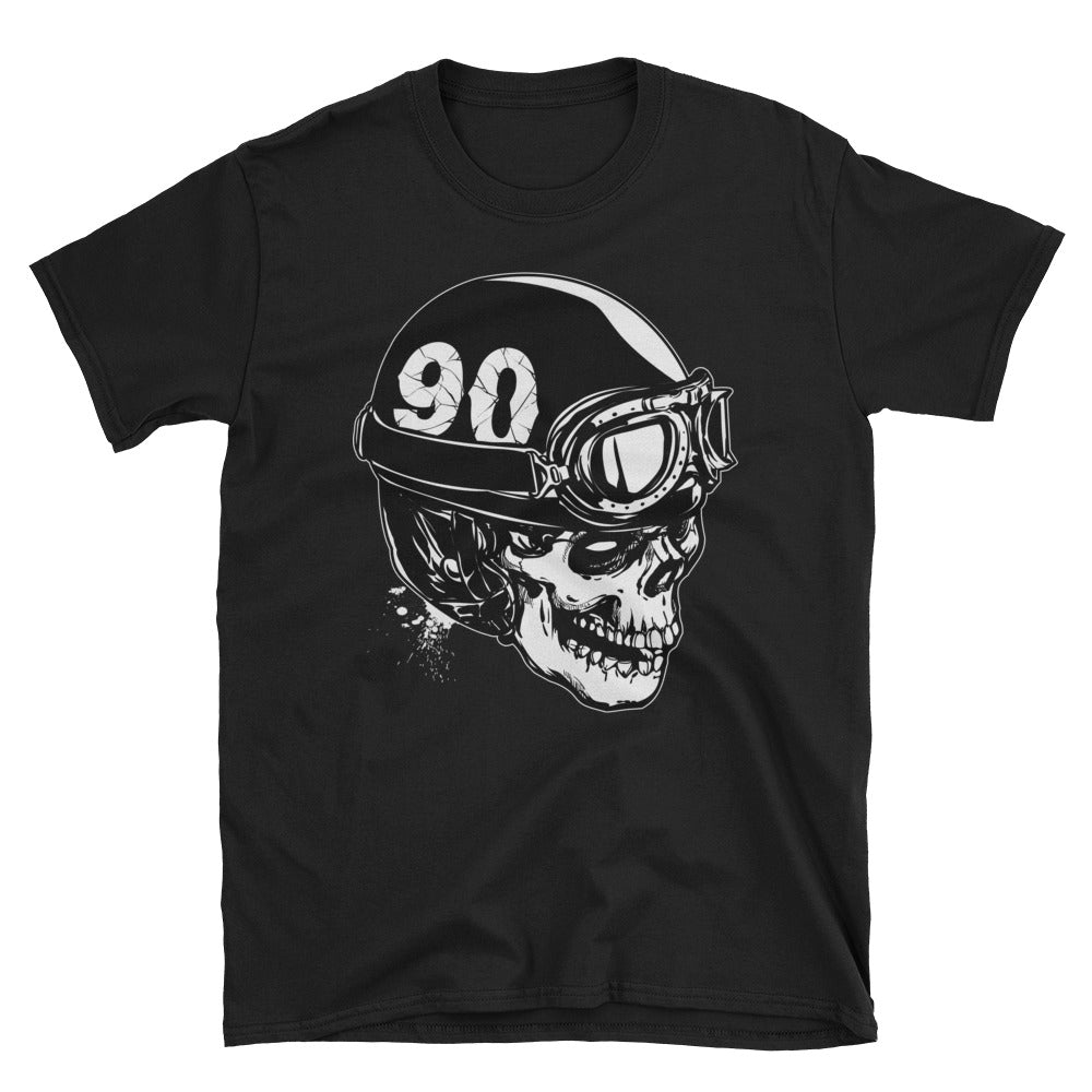 Men's T Shirt,Black / 3XL,Skull With A Vintage Motorcycle Helmet T-Shirt | thebikerstshirt