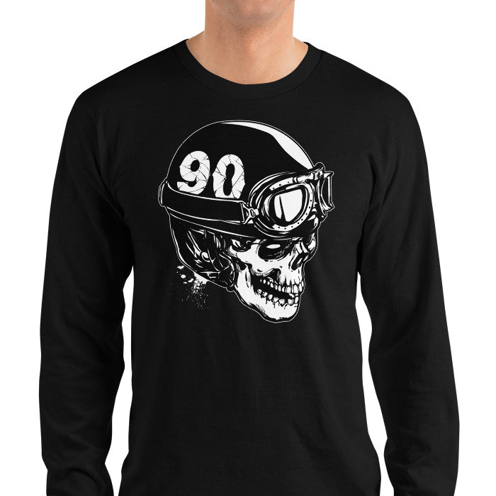 Skull With A Vintage Motorcycle Helmet Long Sleeve Shirt