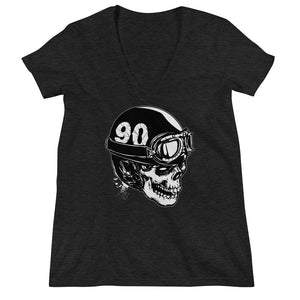 Women's V-Neck T-Shirt,Black / 2XL,Skull With A Vintage Motorcycle Helmet Women's V-Neck T-Shirt | Bikerisma ™