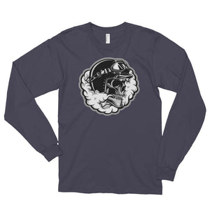 Men's Long Sleeve Shirt,Asphalt / 2XL,Smoking Skull Long Sleeve Shirt | thebikerstshirt