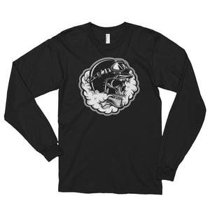 Men's Long Sleeve Shirt,Black / 2XL,Smoking Skull Long Sleeve Shirt | thebikerstshirt