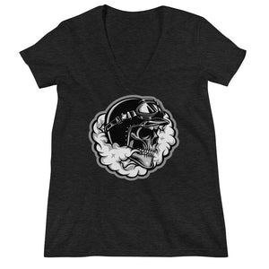 Women's V-Neck T-Shirt,Black / 2XL,Smoking Skull Women's V-Neck T-Shirt | Bikerisma ™