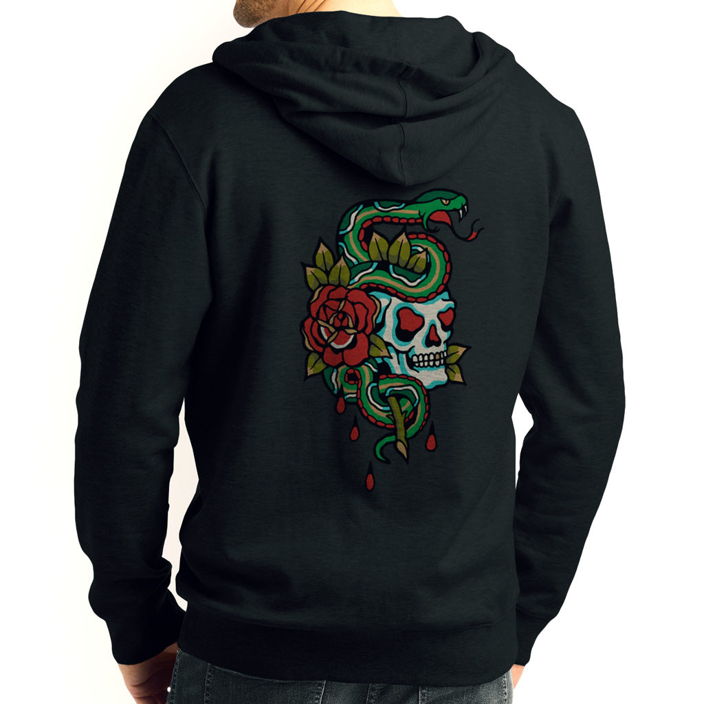 Snake On Skull Zip Black Hoodie