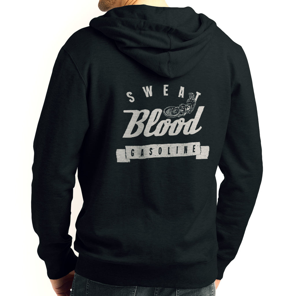 Sweat, Blood & Gasoline Biker Black Hoodie