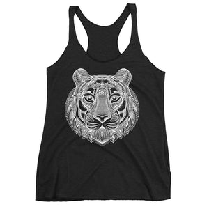 Women's Racerback Tank,Black / 2XL,Tiger Hand Drawn Women's Racerback Tank | The Biker's T-Shirt