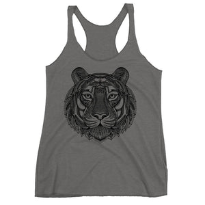 Women's Racerback Tank,Grey / 2XL,Tiger Hand Drawn Women's Racerback Tank | The Biker's T-Shirt