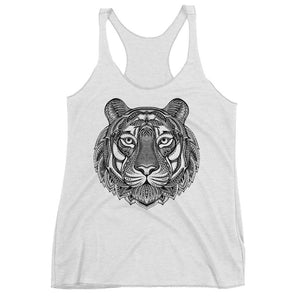 Women's Racerback Tank,White / 2XL,Tiger Hand Drawn Women's Racerback Tank | The Biker's T-Shirt
