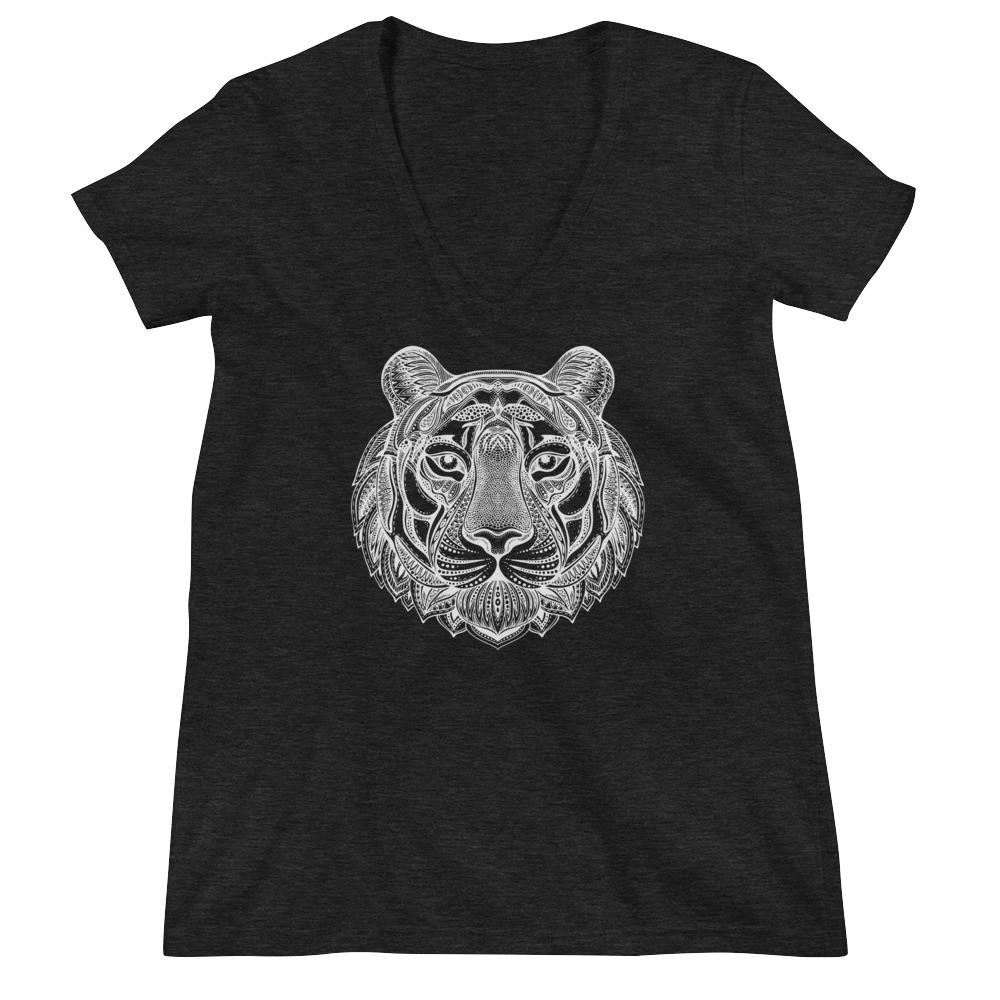 Women's V-Neck T-Shirt,Black / 2XL,Tiger Hand Drawn Women's V-Neck T-Shirt | Bikerisma ™