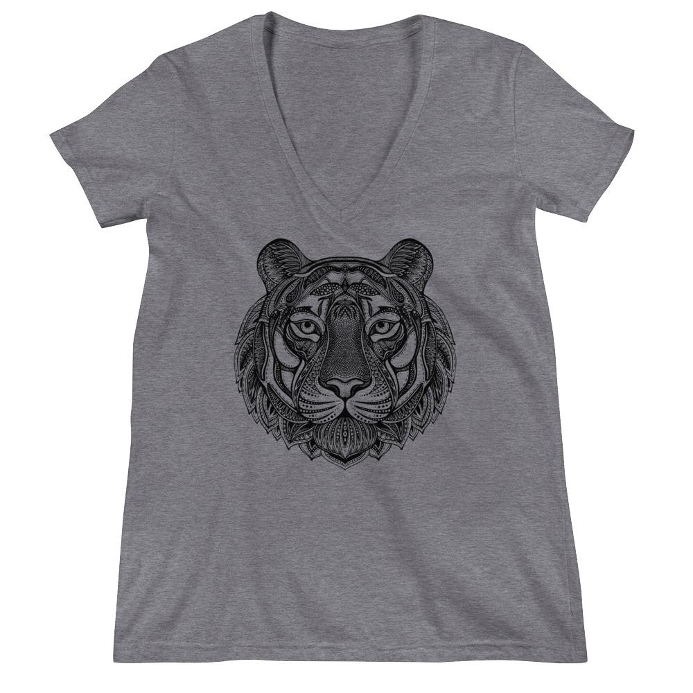 Women's V-Neck T-Shirt,Grey / 2XL,Tiger Hand Drawn Women's V-Neck T-Shirt | Bikerisma ™