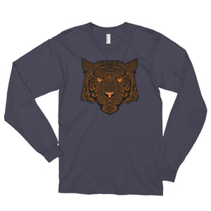 Men's Long Sleeve Shirt,Asphalt / 2XL,Tiger Long Sleeve Shirt | thebikerstshirt
