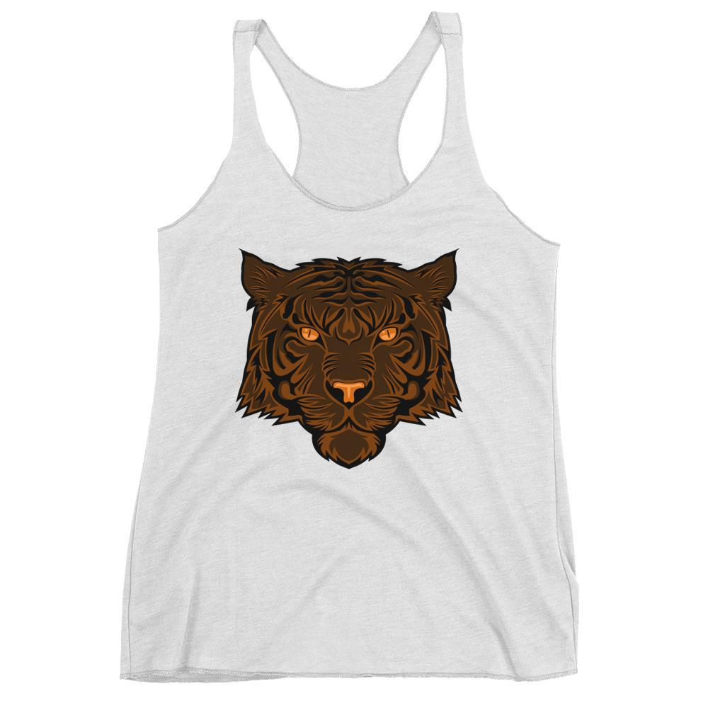 Women's Racerback Tank,White / 2XL,Tiger Women's Racerback Tank | The Biker's T-Shirt