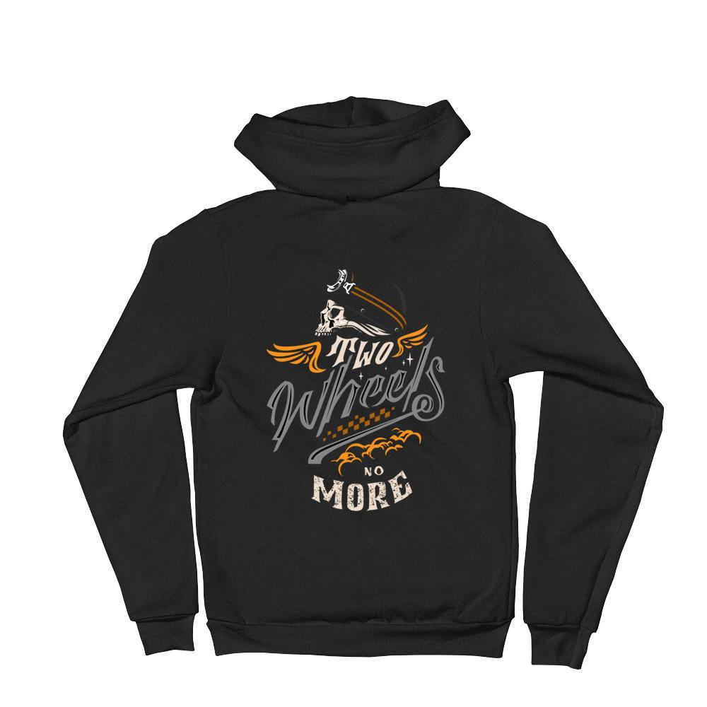 Women's Hoodie,Black / 2XL,Two Wheels No More Women Zip Hoodie | thebikerstshirt