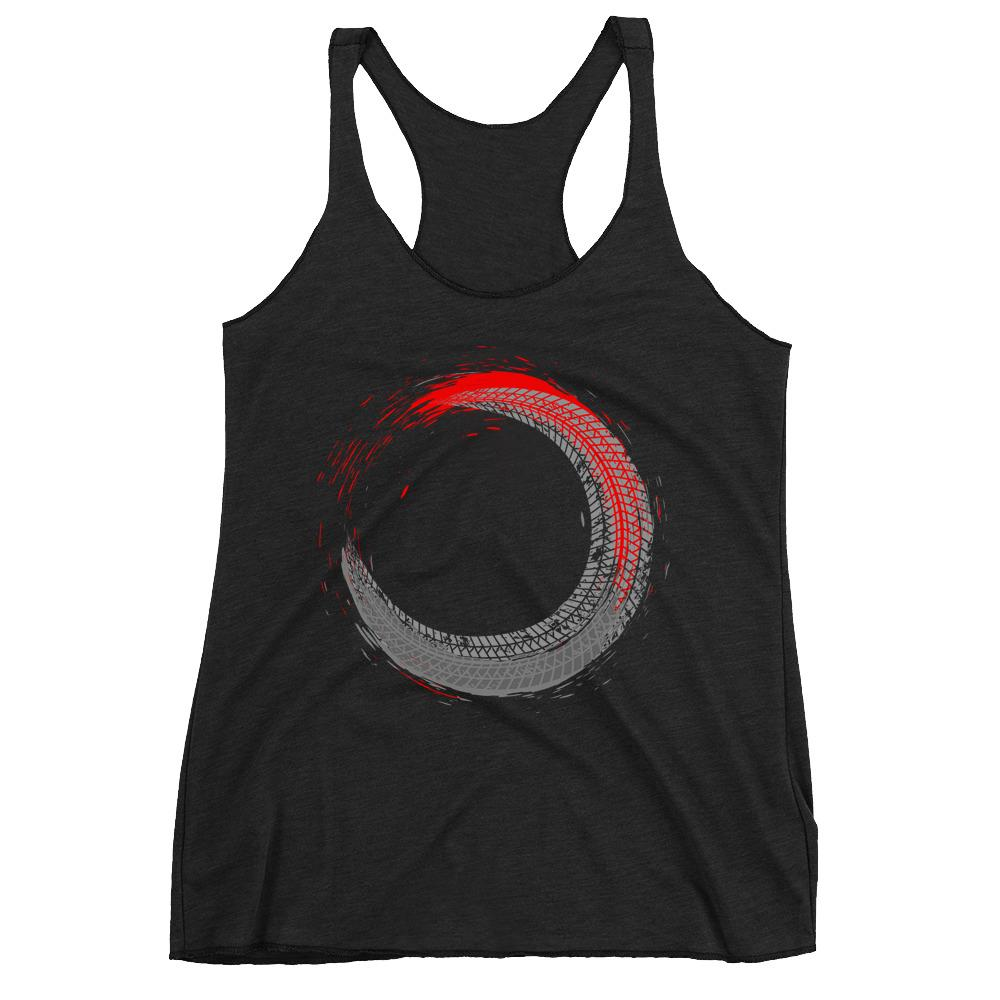 Women's Racerback Tank,Black / 2XL,Tire Tracks Women's Racerback Tank | The Biker's T-Shirt