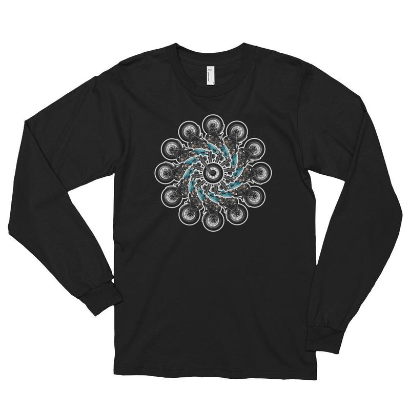 Men's Long Sleeve Shirt,Black / 2XL,Wheels Of Fortune Long Sleeve Shirt | thebikerstshirt