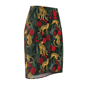 Women's Pencil Skirts,,Leopard & Roses Women's Pencil Skirt | Bikerisma ™