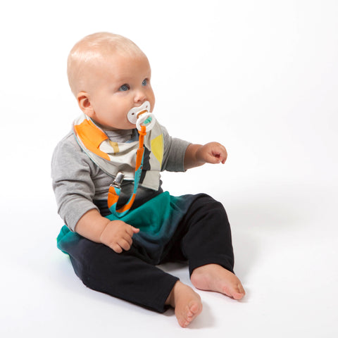 baby onesie, dummy strap, baggy pants and bib