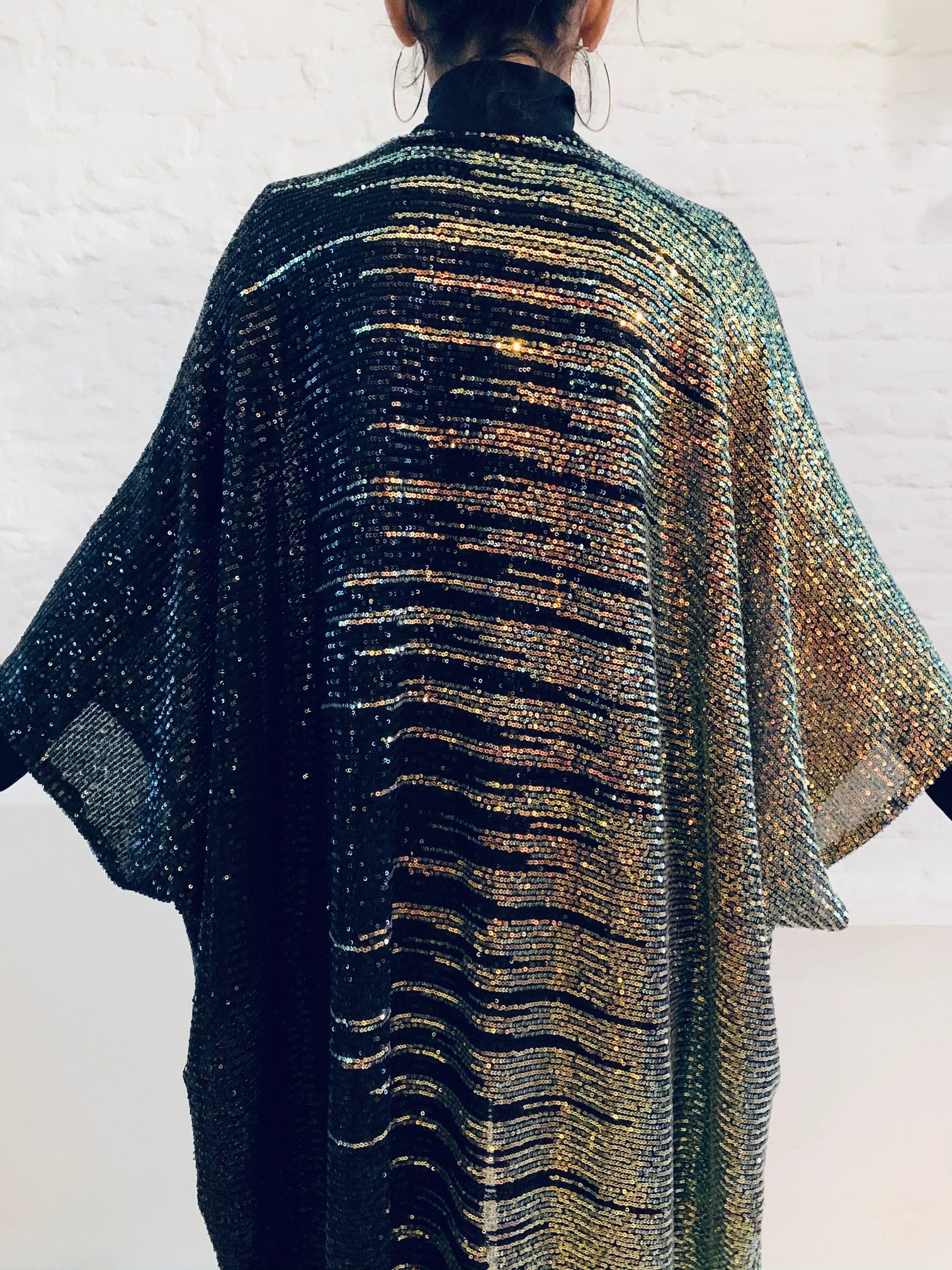 India cape black gold sequins