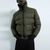 Zara Man Green Rubberized Puffer Fur Collar Jacket