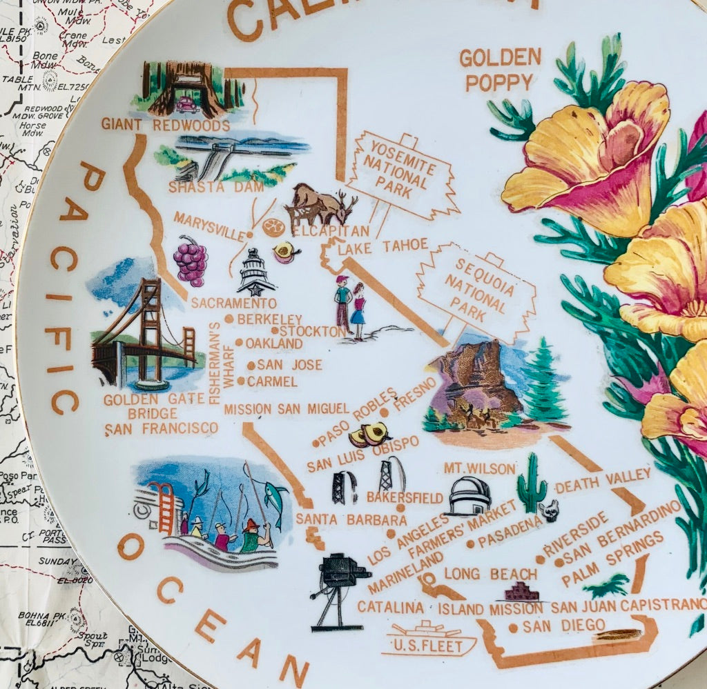 VINTAGE PLATE | CALIFORNIA GOLDEN POPPIES