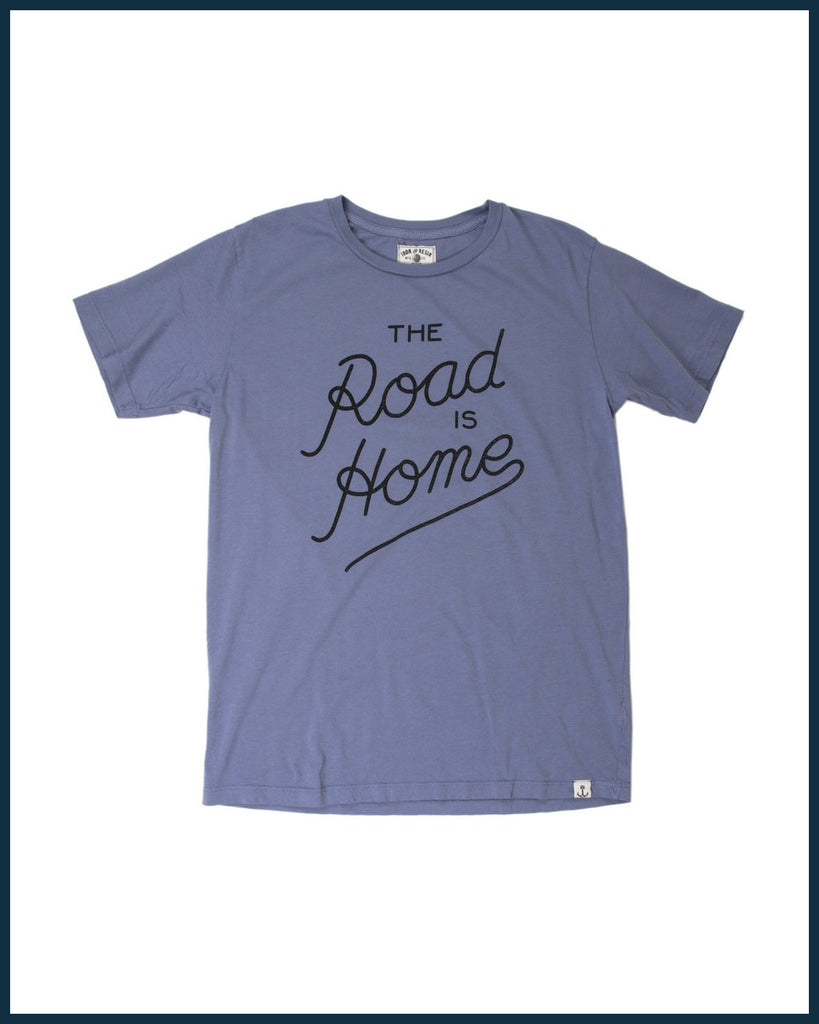 Road is Home Tee in Blue