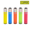 Clipper Lighter Regular Size Solid Fluo w/ Removable / Replaceable Flint / Poker 48/pack