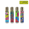 Clipper Lighter Regular Size Hippie #6 w/ Removable / Replaceable Flint / Poker 48/pack