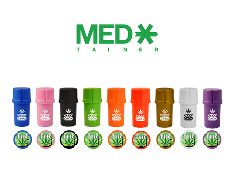 MedTainer Air-Tight Grinder & Container - THC and Vapor Central Logos