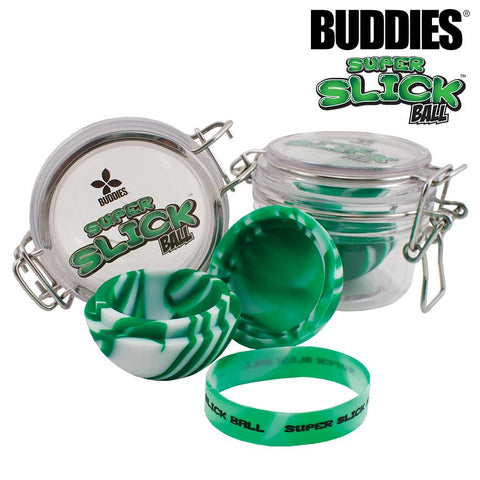 Buddies Silicone Container - Super Small Slick Ball w/ Acrylic Jar