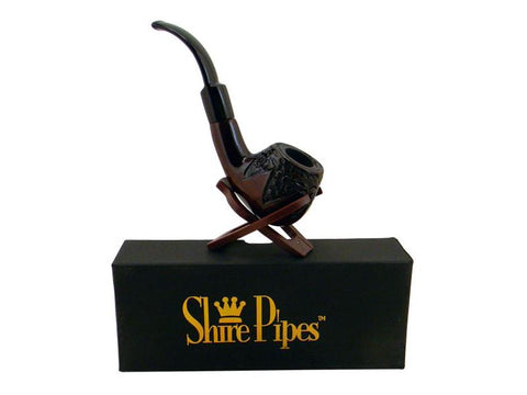 "Shire Traditional Wood Pipe - Rosewood 5.5"" Engraved Bent Apple PP330"
