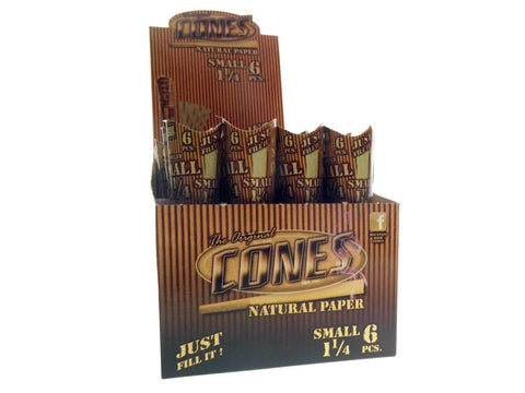 Cones 1-1/4 Size Pre-Rolled Cone Natural Unbleached Tube Pack 6/pk 32/box