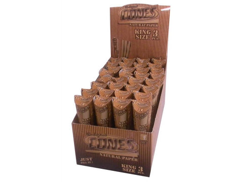 Cones King Size Pre-Rolled Cone Natural Unbleached Tube Pack 3/pk 32/pk