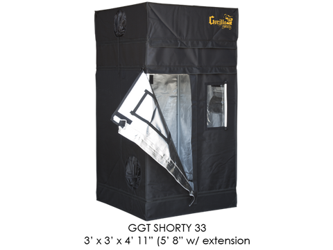 "Gorilla Grow Tent 3x3x5'11""-6'11"" With Included Extension GGT33SH"
