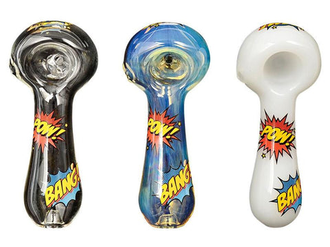 "Red Eye Glass Pipe - Hero POW! BANG! 4"" Long 2247"