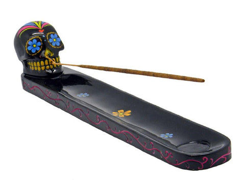 NoName Incense Burner Tray Regular Size Polyresin Skull 15885